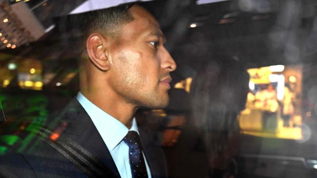 Israel Folau leaves after a code of conduct hearing in Sydney. Picture: AFP