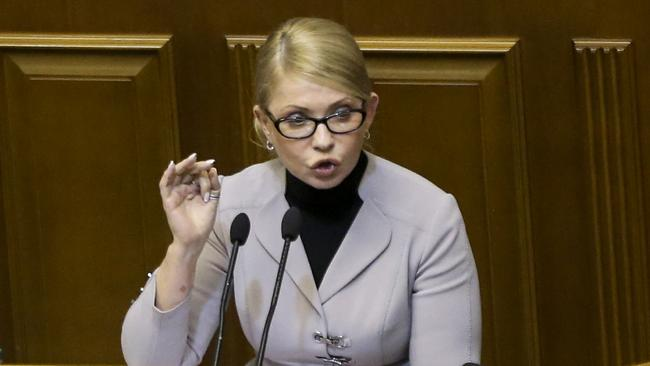 Ukrainian opposition leader Yulia Tymoshenko gestures during a parliament session in Kiev, Ukraine. Picture: AFP