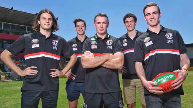 St Kilda draftees (from left) Hunter Clark, Nick Coffield, Oscar Clavarino and Ben Paton with coach Alan Richardson. Picture: Tony Gough