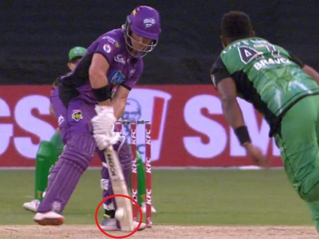 D'Arcy Short hit this ball but the umpire called it leg byes. He fell four runs short of a century.