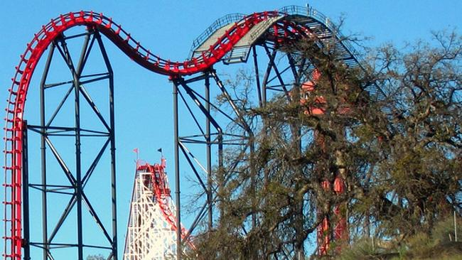 Be prepared for some fun-filled roller coaster action at Six Flags Magic Mountain. Picture: Flickr Roller Coaster Philosophy
