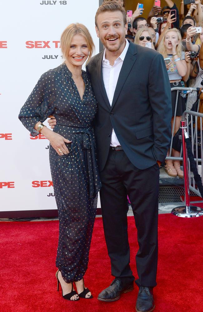 Red carpet ... Diaz and Segel attend the <i> Sex Tape </i>premiere in Westwood, California. Picture: Getty