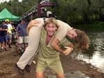 "Steve Irwin with wife Terri on set of film ""The Crocodile Hunter: Collision Course"" in Queensland in 2002."
