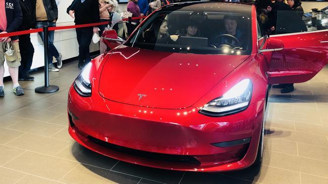 Tesla Model 3 on display at Martin Place.