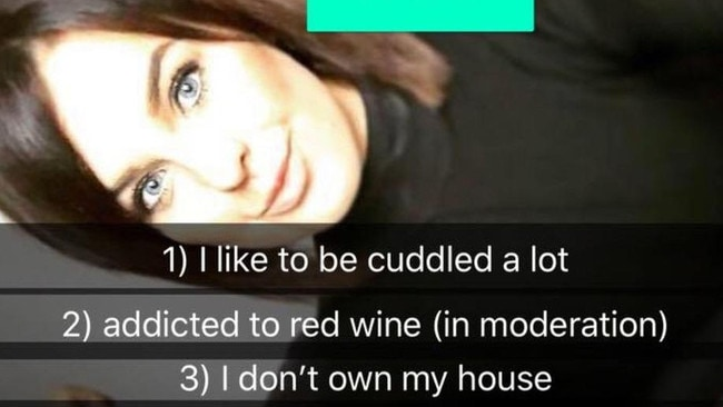 Her cons include being too needy and her love of red wine.