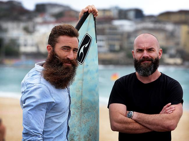 This Is Beard: Jimmy Niggles has grown one of the most impressively rugged beards in Australia to raise awareness of skin cancer. Niggles (left) is pictured with photographer friend Brock Elbank Picture: Cameron Richardson