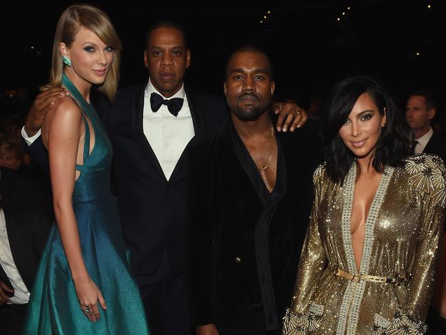Taylor Swift, Jay Z and Kanye West and Kim Kardashian at the 2015 Grammys. Picture: Getty