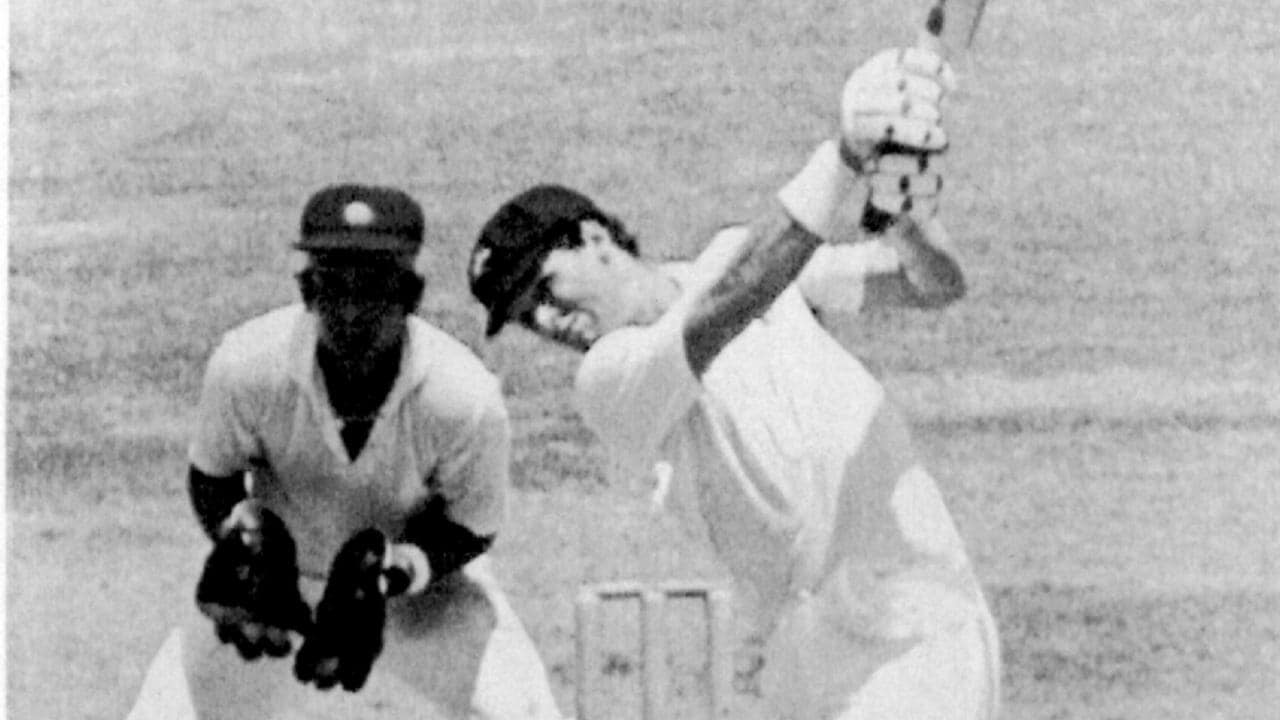 Dean Jones hits a boundary on the way to a double century at Madras in 1987.
