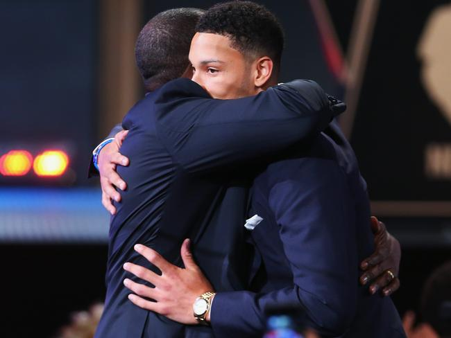 Ben Simmons hugs his father after getting the No.1 pick.