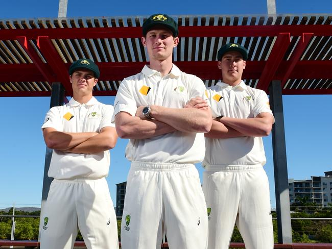 Mitch Swepson (L) and Matt Renshaw (R) with Western Australia's Cameron Bancroft (C).