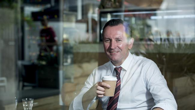 Mark McGowan having a coffee in Leederville. Picture: Matthew Poon