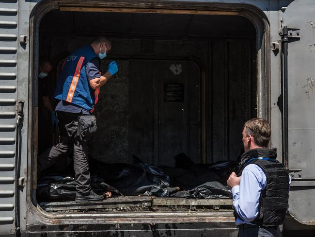 Organisation for Security and Cooperation in Europe deputy chief monitor Alexander Hug visits a train containing the bodies of victims of the Malaysia Airlines flight MH17 in Torez, Ukraine. Picture: Brendan Hoffman/Getty Image