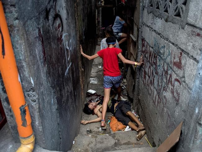 Valien Mendoza, a suspected drug dealer, was gunned down by unidentified assailants in Manila last month. Picture: Noel Celis/AFP