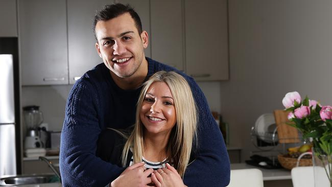 Rugby league player Blake Ferguson with his girlfriend Bianca Menniti at their home in Kigsford. Pic Brett Costello