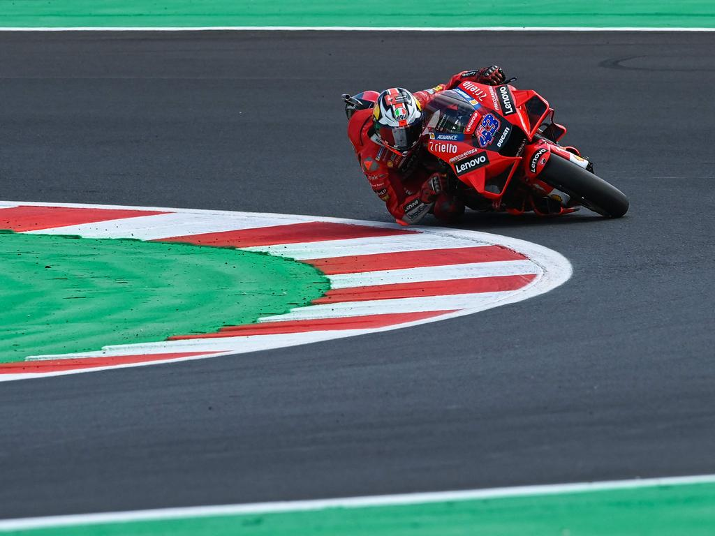 Ducati Australian rider Jack Miller rides his bike during the fourth free practice session ahead of the San Marino MotoGP Grand Prix at the Misano World Circuit Marco-Simoncelli on September 18, 2021 in Misano Adriatico, Italy. (Photo by ANDREAS SOLARO / AFP)