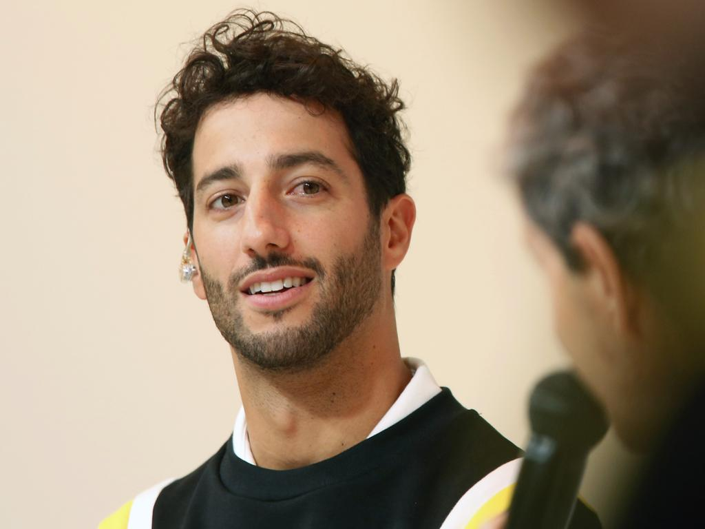 Renault drivers Daniel Ricciardo of Australia attends a press conference, in Paris, Wednesday, Feb. 12, 2020. (AP Photo/Thibault Camus)