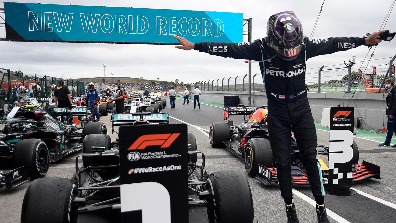 Lewis Hamilton is now a seven-time world champion. (Photo by JORGE GUERRERO / POOL / AFP)