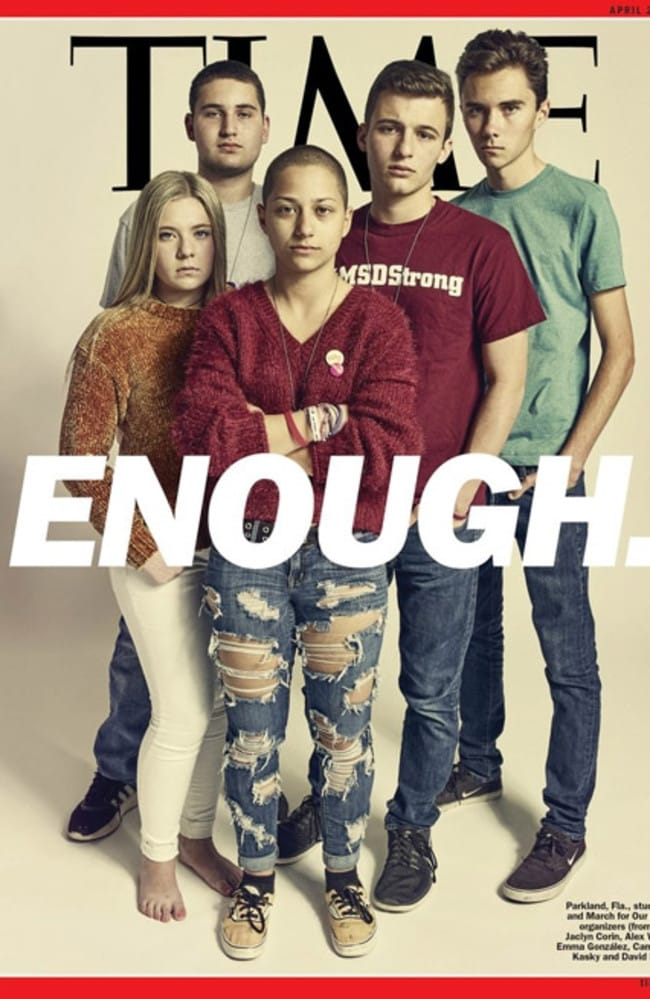 Time magazine cover of the Parkland students including David Hogg and Emma Gonzalez. Picture: Supplied