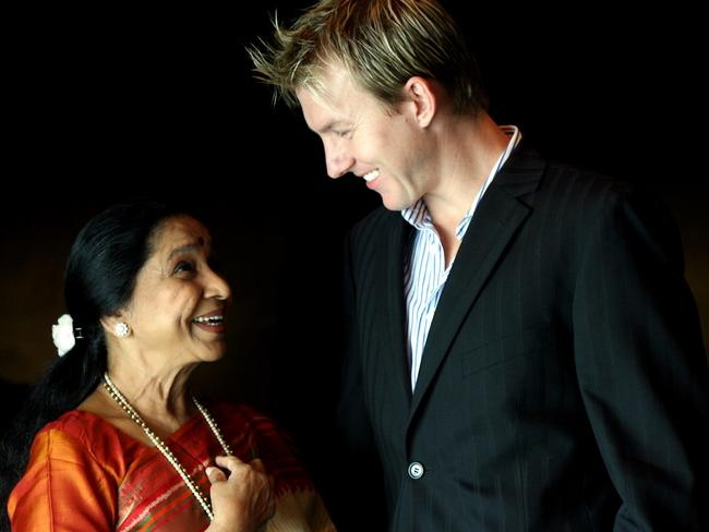 Star turn ... Bollywood actor Asha Bhosle and Australian cricketer Brett Lee, who recorded a love duet together.