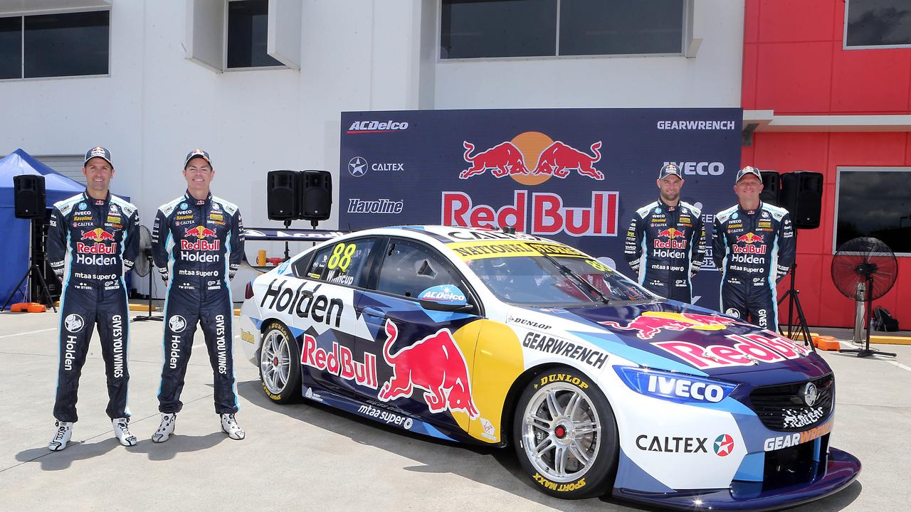Red Bull Holden at its 2020 launch with drivers Jamie Whincup, Shane van Gisbergen, Garth Tander and Craig Lowndes.
