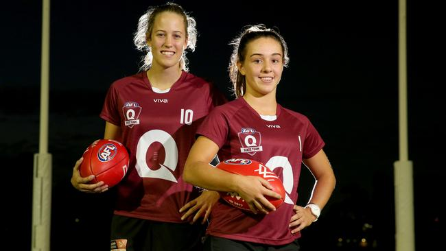 Tori Groves-Little, with Georgia Brehmer, was a Queensland under-18 representative. Picture: Richard Walker