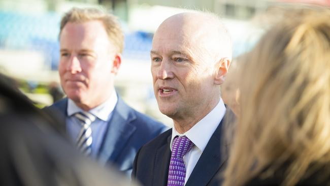 AFL Taskforce chairman Brett Godfrey and Premier Will Hodgman Picture: RICHARD JUPE