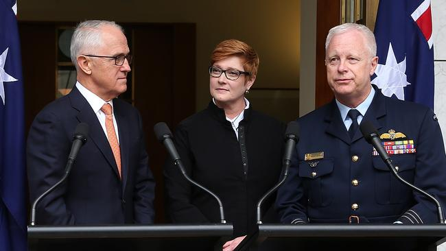 PM Malcolm Turnbull with Defence Minister Marise Payne and current Chief of the Defence Force Air Chief Marshal Mark Binskin. Picture: Kym Smith