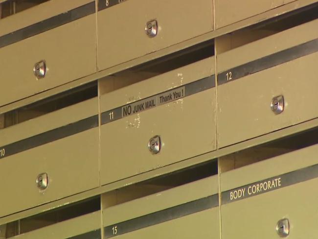 The mailboxes at the Watermark. Picture: 9 News