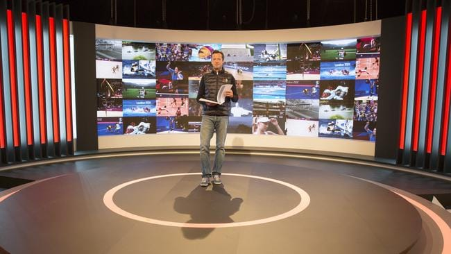 Hamish McLachlan rehearses on set before coverage of the Olympic Games in Rio kicks off from Saturday. Picture: Supplied