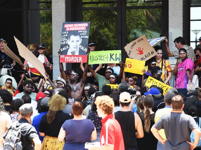 Protesters gather at Darwin's CBD and Parliament House over the shooting death. Picture: Katrina Bridgeford