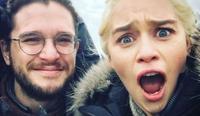 Kit Harington and Emilia Clarke on set of Game of Thrones. Picture: @emilia_clarke
