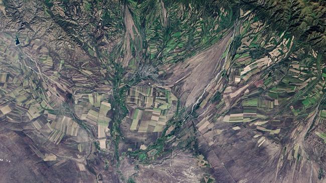 The fall harvest in Kazakhstan, taken on September 9. Photo: NASA
