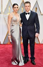 Luciana Barroso and Matt Damon attend the 89th Annual Academy Awards on February 26, 2017 in Hollywood, California. Picture: AFP
