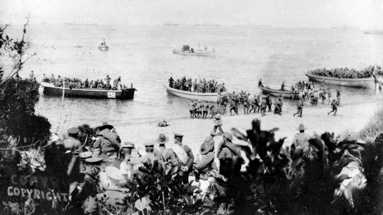 Soldiers land on the beach at Anzac Cove, Gallipoli, Turkey, in the days or weeks after the initial April 25, 1915 landing. The ships carrying soldiers, supplies and equipment are just visible on the horizon. Picture: supplied
