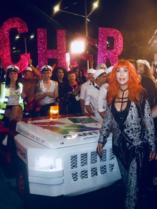Cher arrives at the Sydney Mardi Gras. Picture: QANTAS.