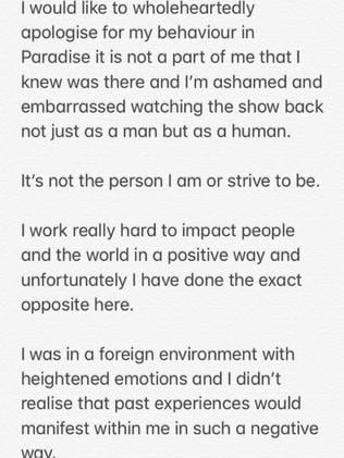 Ivan posted a lengthy apology after the show.