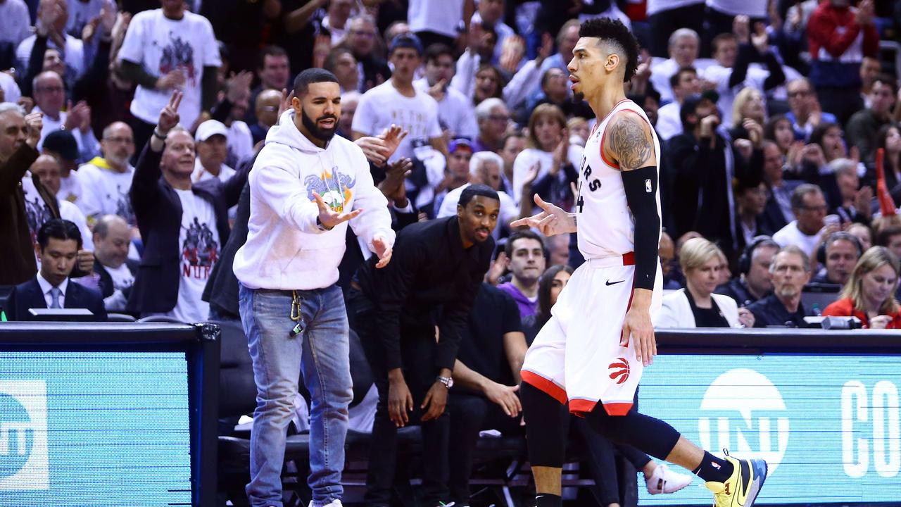 6c22a246 Singer Drake and Danny Green #14 of the Toronto Raptors in Game 5 of the