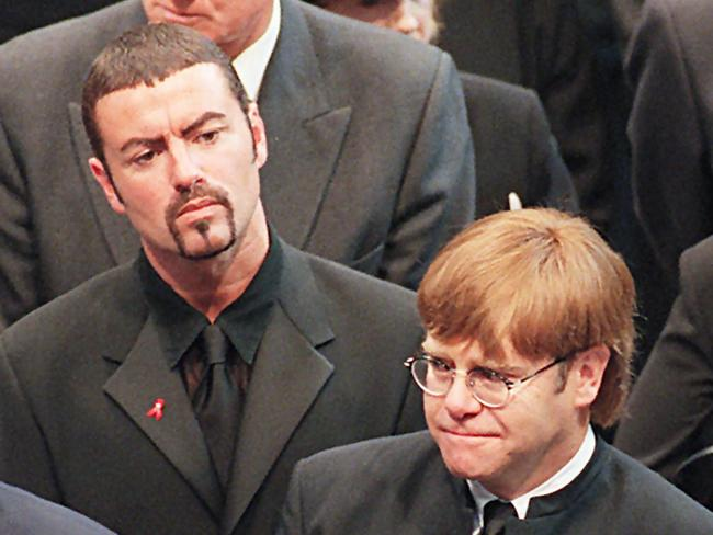 George Michael and Elton John at Diana's funeral. Picture: AFP