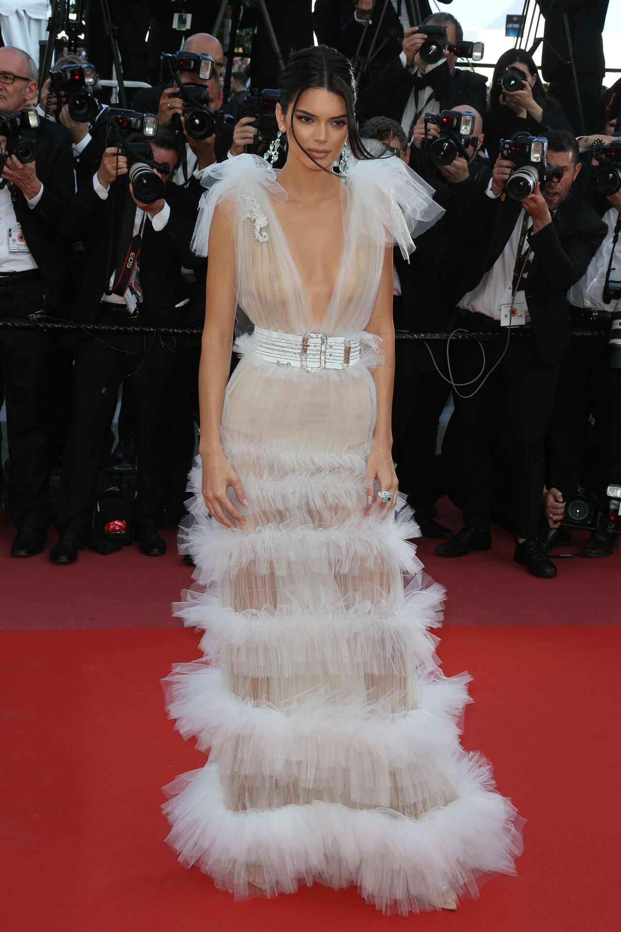 Kendall Jenner on the red carpet at Cannes Film Festival in 2018. Image credit: Getty Images