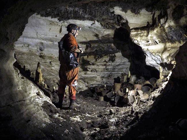 Mexican archaeologist Guillermo de Anda inside the Balamku Cave in the archaeological site of Chichen Itza, Mexico. Picture: Karla Ortega