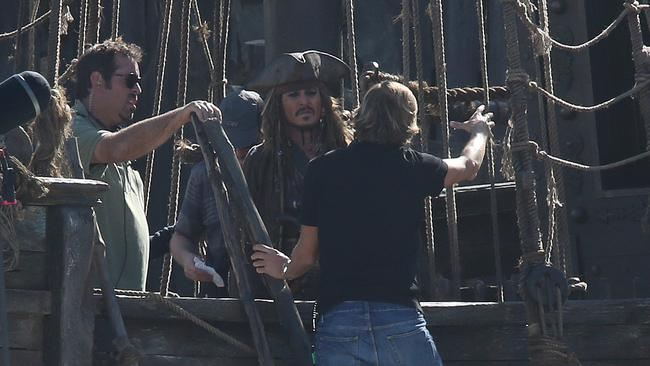 Johnny Depp during filming of the Pirates of the Caribbean at the set in Doug Jennings Park on The Spit in Broadwater, Gold Coast. Picture: Regi Varghese