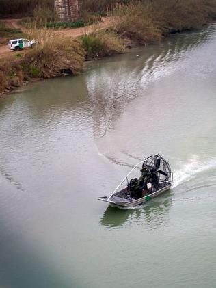 US Border Police guard the Rio Bravo in high-powered boats after reports of migrants swimming across the river. Picture: JCA via AFP
