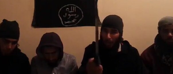 The four suspects as they appear in the ISIS inspired video filmed a week before the murders. Picture: Supplied