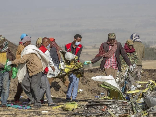 A spokesman says Ethiopian Airlines has grounded all its Boeing 737 Max 8 aircraft as a safety precaution, following the crash in which 157 people were killed. Picture: AP
