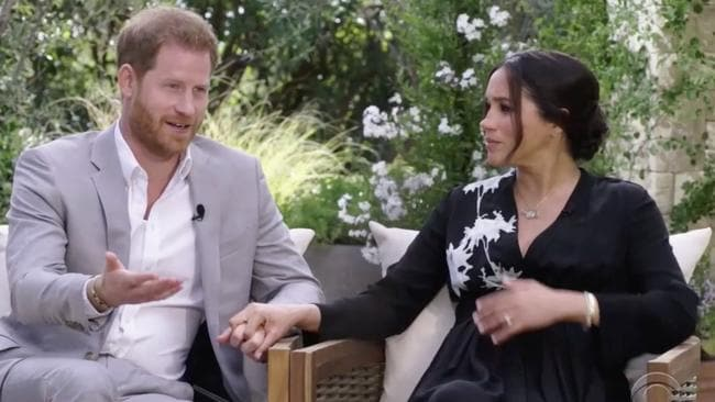 The explosive Harry and Meghan interview with Oprah Winfrey was just six weeks before Prince Philip's death. Picture: CBS