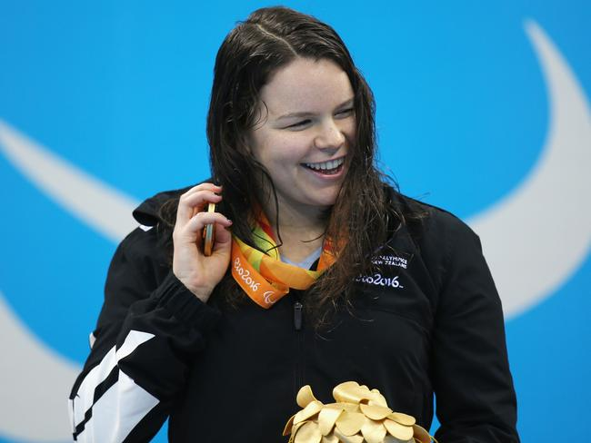 Women's 100m backstroke gold medallist Mary Fisher of New Zealand.