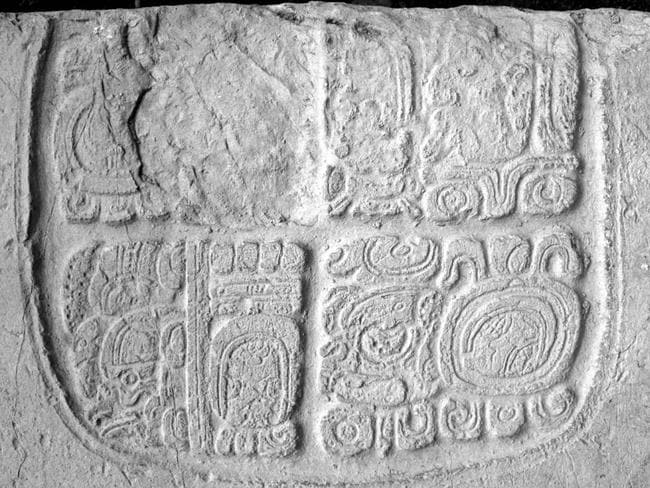 One of the set of glyphs engraved on panels found in the tomb at Xunantunich. Picture: Dr Christophe Helmke / Belize Institute of Archaeology / Northern Arizona University