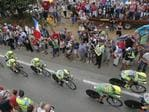 Team Tinkoff Saxo rides during the ninth stage of the Tour de France cycling race, a team time-trial over 28 kilometers (17.4 miles) with start in Vannes and finish in Plumelec, France. Picture: AP