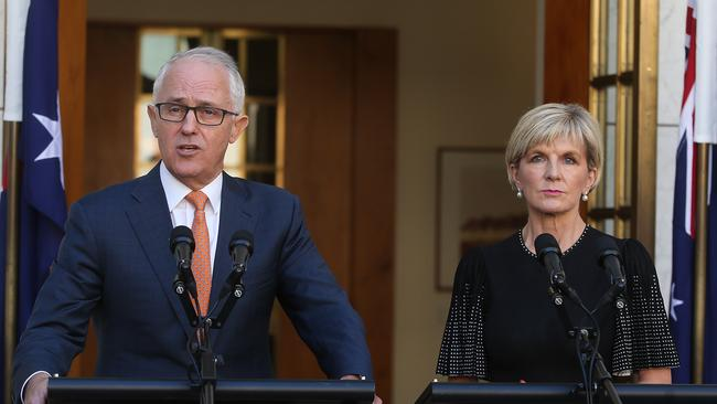 PM Malcolm Turnbull and Minister for Foreign Affairs Julie Bishop in Canberra. Picture: Kym Smith