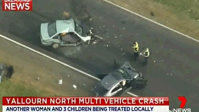 The multi-vehicle crash in Yallourn North killed a seven-year-old girl. Source: 7News.